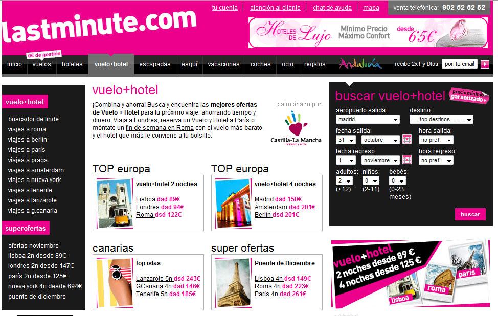 Lastminute ofrece en su primer pantallazo su nombre, su producto estrella (el buscador) y enlaces a las principales secciones.