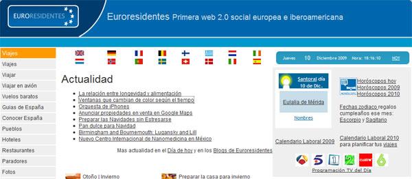 Pantallazo de la página principal de Europresidentes.com